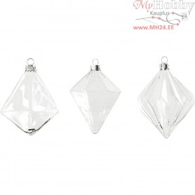 Glass Ornaments, D: 7+7,9+8 cm, H: 9,6+9,8+10,5 cm, transparent, 3pcs