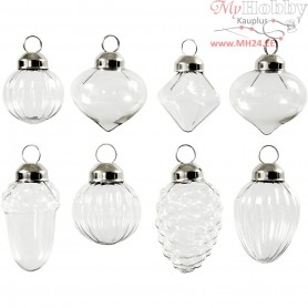 Glass Ornaments, D: 2,8-3 cm, H: 3,5+5,1 cm, transparent, 8pcs