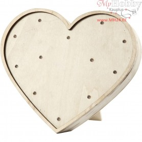 Light Box, heart, H: 21 cm, W: 23,5 cm, plywood, 1pc, depth 3,5 cm