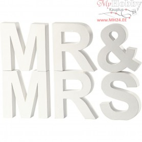 Letters, MR & MRS, H: 17,5 cm, depth 4,5 cm, white, 1set