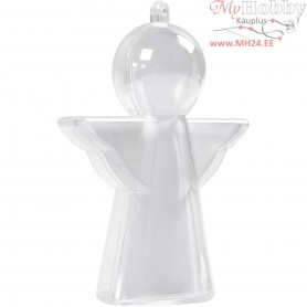 Decoration Angel, H: 10 cm, transparent, 4pcs