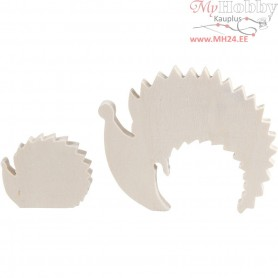 Hedgehogs, H: 4+8 cm, W: 5+10 cm, plywood, 1set, depth 1,2 cm
