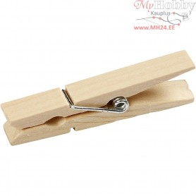 Clothes Pegs, L: 48 mm, W: 6 mm, birch, 20pcs
