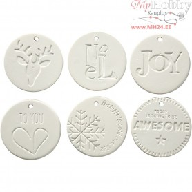 Hanging Ornaments, size 7x7 cm, thickness 0,6 cm, white, 24pcs