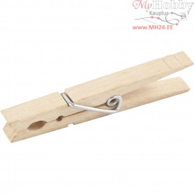 Clothes Pegs, L: 80 mm, W: 10 mm, birch, 10pcs