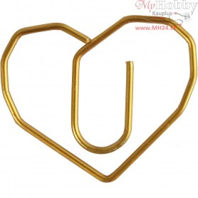 Metal Paperclips, size 30x20 mm, gold, heart, 6pcs