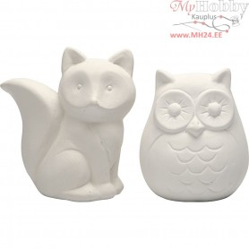 Animal Saving Banks, owl and fox, H: 9 cm, white, 2pcs