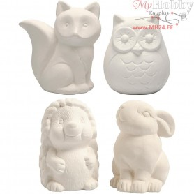 Animal Saving Banks, owl, fox, hedgehog, hare, H: 9-10 , white, 4pcs