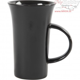 Mugs, H: 15 cm, D: 9,5 cm, black, 6pcs