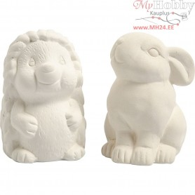 Animal Saving Banks, hedgehog and hare, H: 10 cm, white, 2pcs