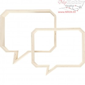Wall Decoration, speech balloon, H: 20,5+23 cm, W: 27+30 cm, plywood, 1set, depth 5 cm