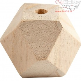 Diamond-Shaped Bead, W: 43 mm, hole size 8 mm, pine, 3pcs