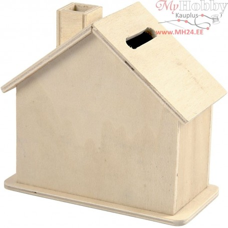 Money Box, size 10,1x10x5,4 cm, plywood, 1pc