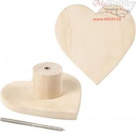 Coat Hook, heart, D: 11 cm, depth 4,5 cm, pine, 1pc