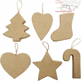 Christmas Ornaments, Christmas Tree, Narrow Heart, Christmas Stocking, Wide Heart,Star and Candy Cane, H: 7+8 cm, 6pcs