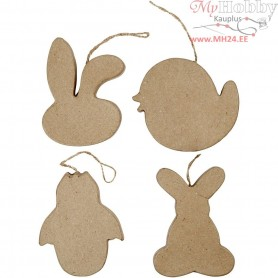 Easter Ornaments, Rabbit-head, Chick, Chick in Egg and Bunny, H: 10 cm, 4pcs