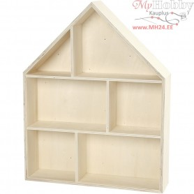 House-Shaped Shelving System, house, H: 45 cm, W: 35 cm, plywood, 1pc