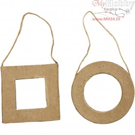 Frames, Square and Round, size 7 cm, 6pcs