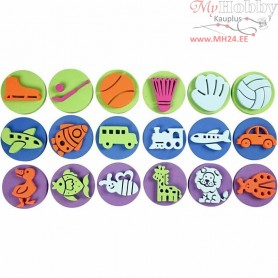 Foam Stamps, D: 7,5 cm, thickness 2,5 cm, 3x6asstd