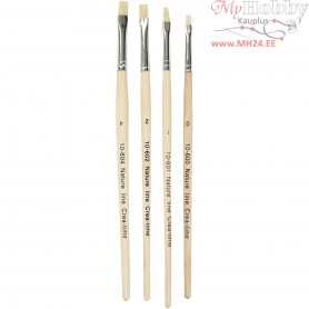 Nature Line Brushes, size 00-1-2-4 , short handles, 4mixed
