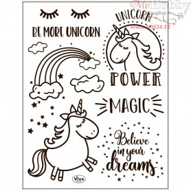 Silicone Motive Sheet, sheet 14x18 cm, unicorn, 1sheet