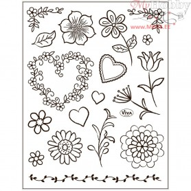 Silicone Motive Sheet, sheet 14x18 cm, flower, 1sheet