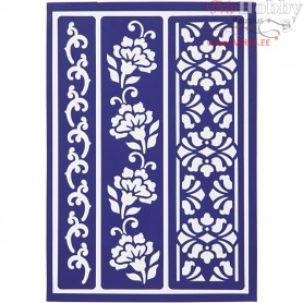 Flexible Stencil , sheet 21x14,8 cm, flowery borders, 1pc