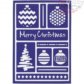 Flexible Stencil , sheet 21x14,8 cm, modern christmas, 1pc