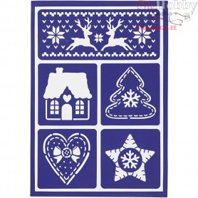Flexible Stencil , sheet 21x14,8 cm, scandinavian christmas, 1pc