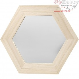 b0d70fb307d Mirror, hexagonal, size 26x26 cm, carving: 18x18 cm, empress wood,