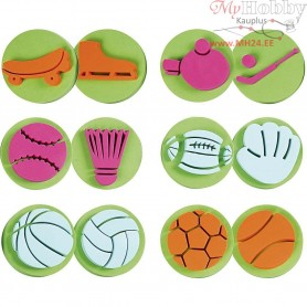 Foam Stamps, D: 7,5 cm, thickness 2,5 cm, sports, 6mixed