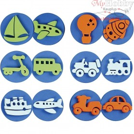 Foam Stamps, D: 7,5 cm, thickness 2,5 cm, transportation, 6mixed