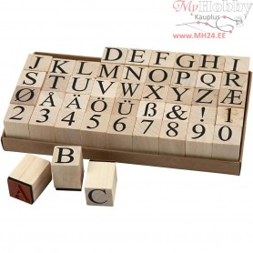 Wooden Stamps Set, H: 15 mm, size 20x20 mm, 45mixed