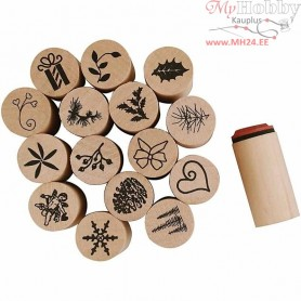 Deco Art Stamps, D: 20 mm, H: 26 mm, Christmas, 15mixed