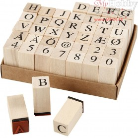 Wooden Stamps Set, H: 8 mm, size 13x13 mm, 42mixed
