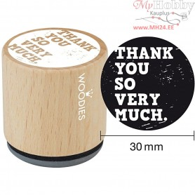 Wooden Stamp, D: 30 mm, H: 35 mm, Thank you so very much, 1pc