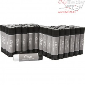 Clear Glue Stick,  10 g, round, 48pcs