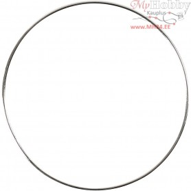 Metal Wire Ring, D: 7 cm, thickness 1,5 mm, silver, 10pcs