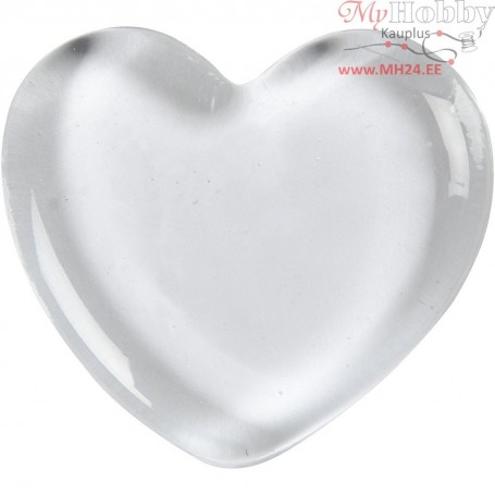 Heart, size 6,5x6,5 cm, thickness 10 mm, transparent, 1pc