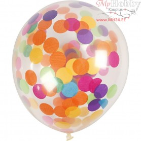 Balloons with Confetti, transparent, D: 23 cm, round, 4pcs