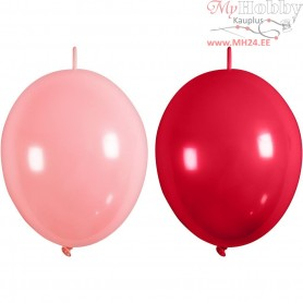 Balloons, light red, red, linked, 8pcs