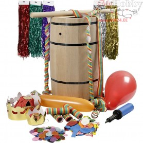 Carnival Barrel with Accessories, H: 54 cm, beech, big, 1set