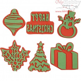 Christmas Foam Stamps, , H: 6-8 cm, W: 6-8 cm, 6mixed
