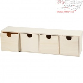 Chest of Drawers, 4 drawers, H: 9,2x34,7 cm, inner size 7,2x7,2 cm, plywood, 1pc