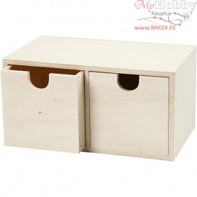 Chest of Drawers, size 9,2x17,7 cm, inner size 7,2x7,2 cm, plywood, 1pc