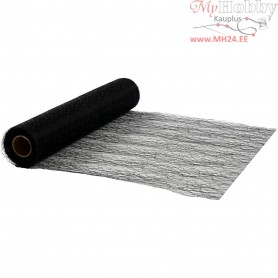 Table Runner, black, W: 30 cm, net, 10m