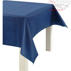 Imitation Fabric Table Cloth, dark blue, W: 125 cm,  70 g/m2, 10m