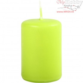 Candles, lime green, D: 40 mm, H: 60 mm, 12pcs