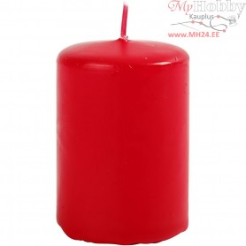 Candles, red, D: 40 mm, H: 60 mm, 12pcs