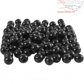 Wooden Beads, D: 8 mm, hole size 2 mm, black, 15g, approx. 80 pc